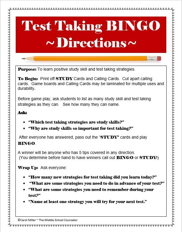 Study Skills : Test Taking and Study Skills BINGO